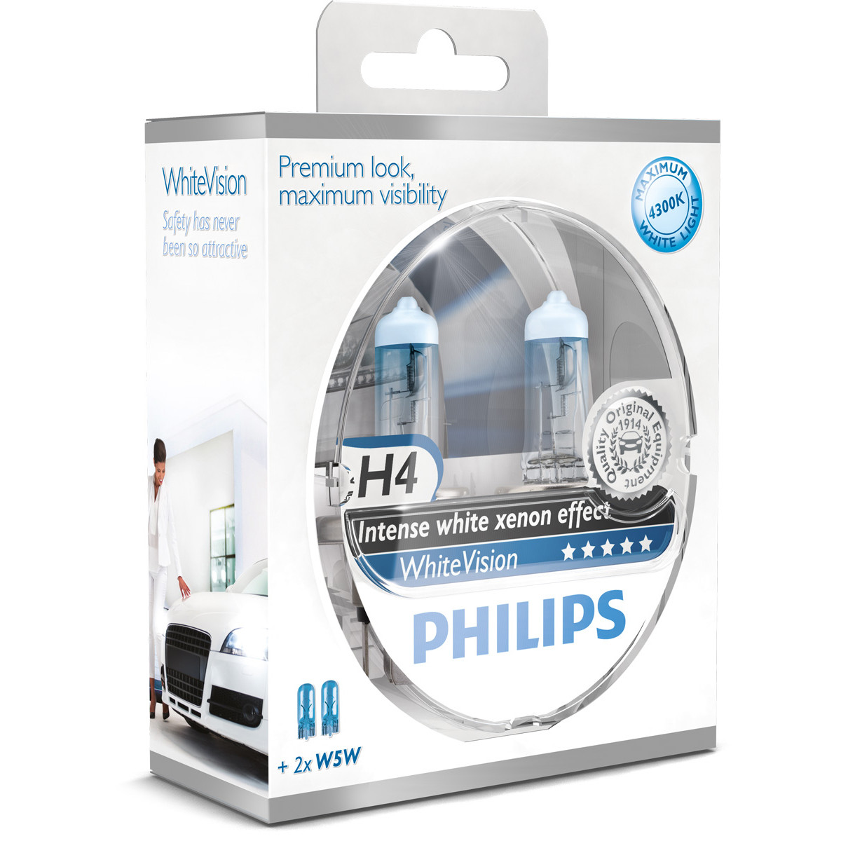 philips h4 whitevision ultra kit12v 60 55w w5w. Black Bedroom Furniture Sets. Home Design Ideas