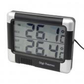 Termometer Inde/Ude Sort/Sølv med Batteri