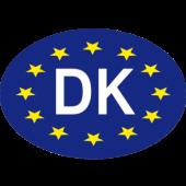 Klistermærke DK blåt EU 70x100mm