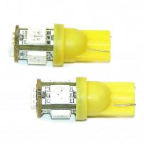 LED W5W Gule 5xSMD 2stk 12V Pærer